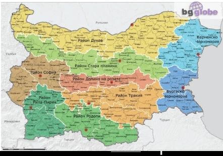 Nova Turisticheska Karta Na Blgariya S 9 Osnovni Rajona