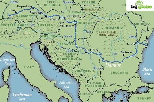 Danube River - Danube river on world map